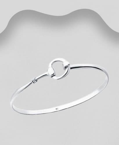 925 Sterling Silver Single Horse Bit Bangle That Opens